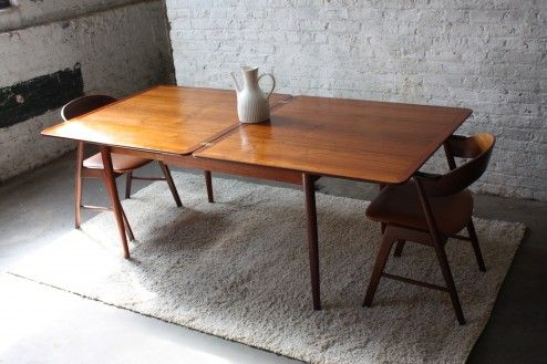 Furniture, Gloss Teak Wood Expanding Dining Table Old Style Expanding Dining Table Design Ideas ~ Attractive Expanding Dining Tables for Room Efficiency