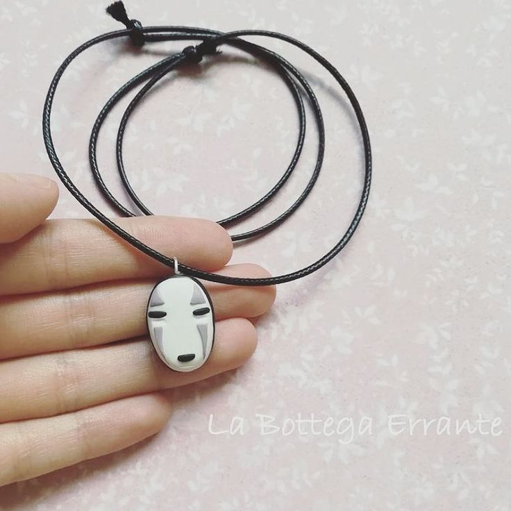 No-Face Spirited Away Necklace - Studio Ghibli, Hayao Miyazaki カオナシ Collana Senza volto (La città Incantata) - Kaonashi Fimo Clay Handmade