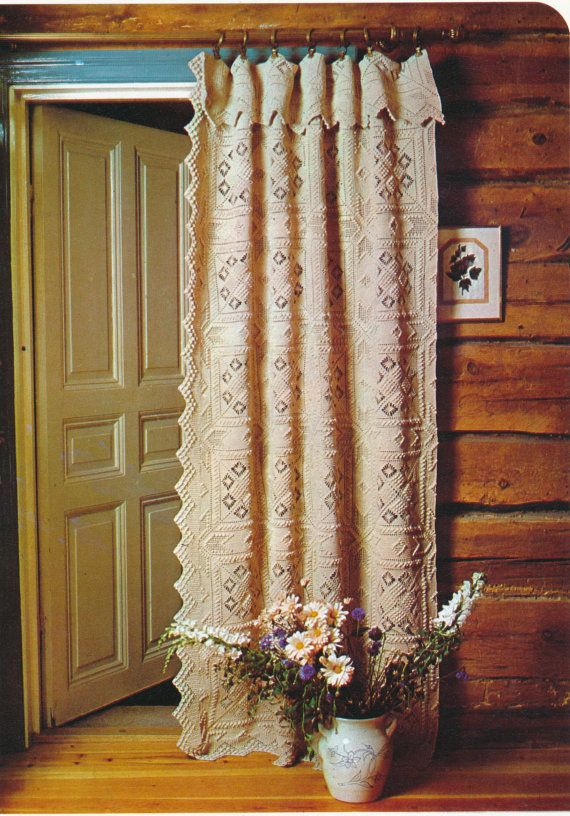 Crochet Patterns Curtains : ... Crocheted Curtain / Bedspread with Open Work Crochet Pattern - PDF