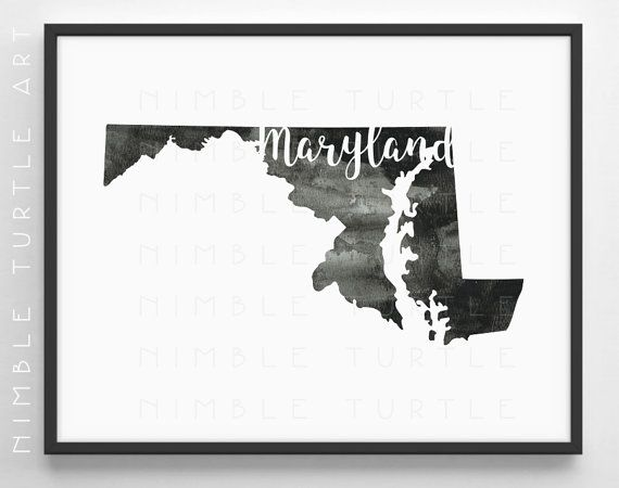 Maryland State Outline Watercolor -  Printable Maryland Wall Art  -  Comes with Blank State Outline SVG  -  Gallery Wall Art