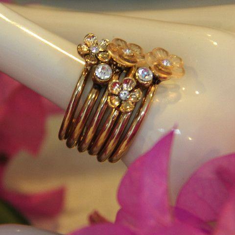 Layer Rhinstone & Flower Ring