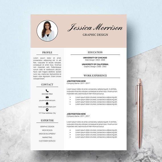 Resume Template CV Template for Word Two Page Resume & Cover