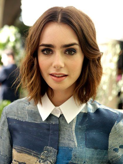 Lily Collin's short and textured bob is so on trend for S/S 14.
