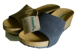 Nubuck leather slippers with wedge, made in Italy by Bionatura, spring 2014