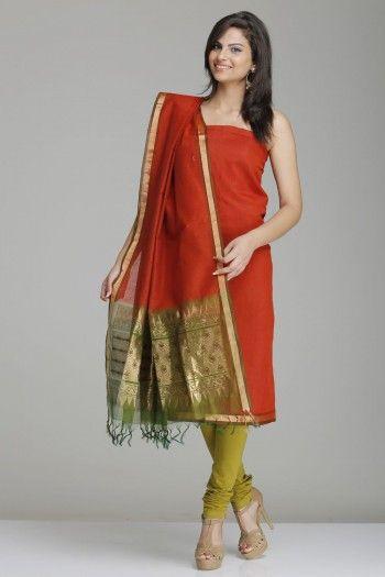 Rust Orange & Green Kora Silk Unstitched Suit With Self-Striped Pattern & Gold Zari Floral Motifs