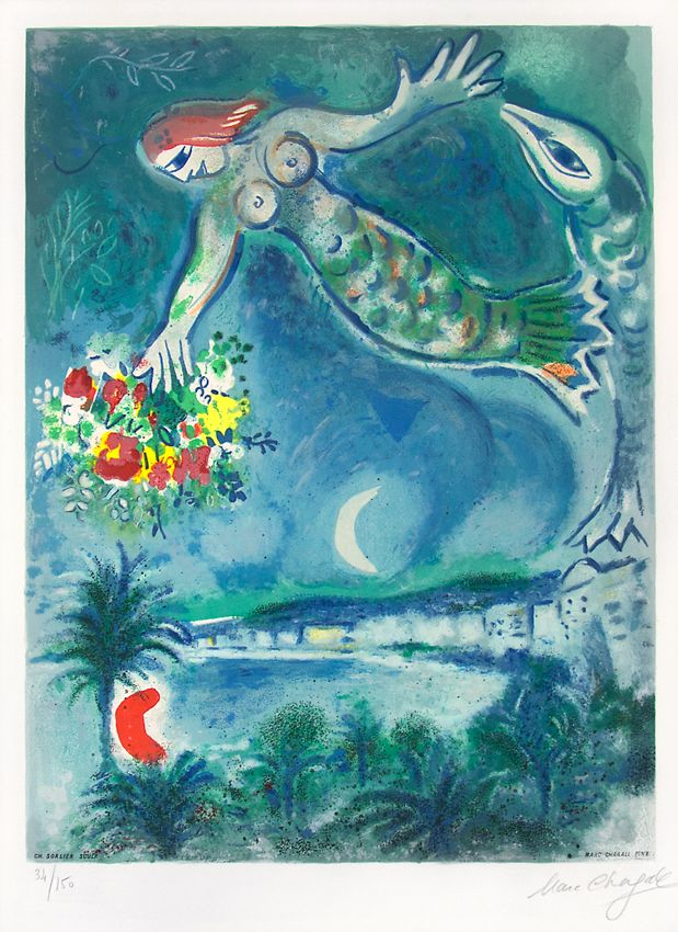 Marc Chagall, Sirène et poisson (Sirene & Fish), from Nice & the Côte  d'Azur, 1967, a color lithograph at Masterworks Fine Art.