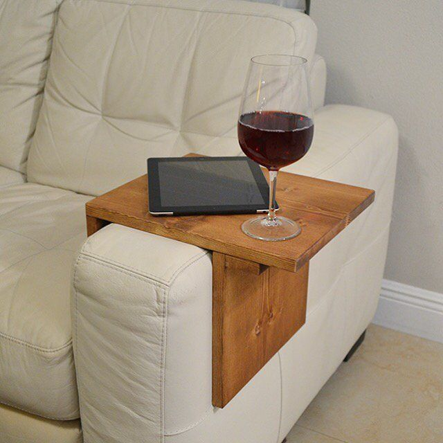 Image Of Adjustable Armrest Table Medium Brown Color