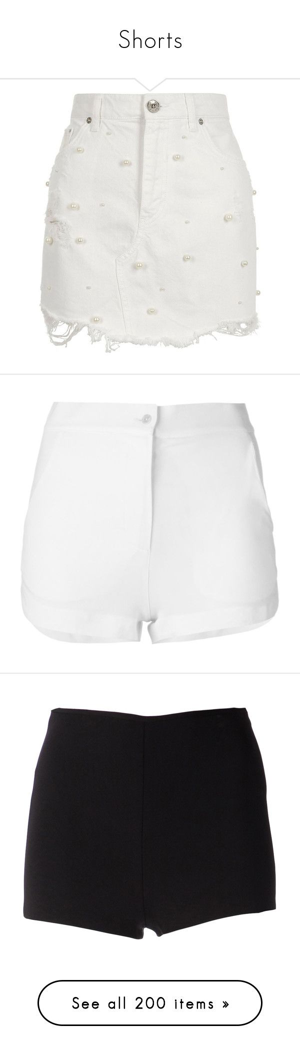 """Shorts"" by yaseumin ❤ liked on Polyvore featuring skirts, mini skirts, white, women, short skirts, ripped denim mini skirt, white denim mini skirt, white mini skirt, white skirt and shorts"