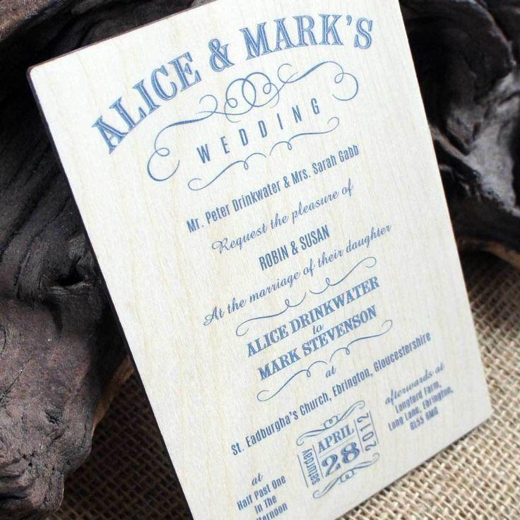 Camdeco   Wooden Printed Wedding Invitation   Vintage Swish, £3.95 (http:/
