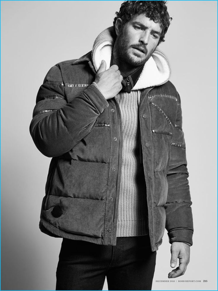 Christopher Campbell styles Justice Joslin in a Moncler jacket, Michael Kors hooded sweater, Burberry track jacket, and Cesare Attolini denim jeans.