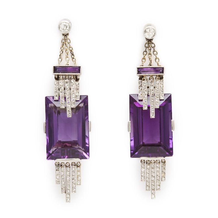 Art Deco Platinum, Amethyst & Diamond Pendant Earrings, English, ca 1915. --  A La Vieille Russie.