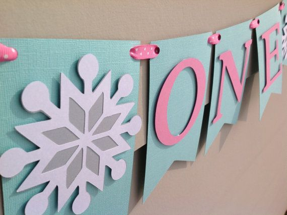 First Birthday High Chair Banner Winter Onederland Inspired Aqua and Pink!