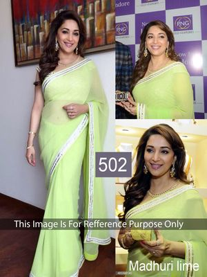Madhuri Lime Green Weightless Georgette Designer Saree Bollywood Sarees Online on Shimply.com
