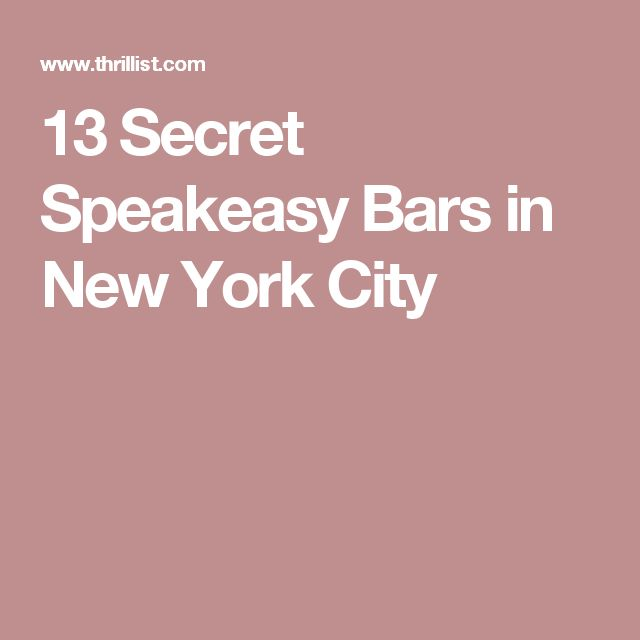 13 Secret Speakeasy Bars in New York City