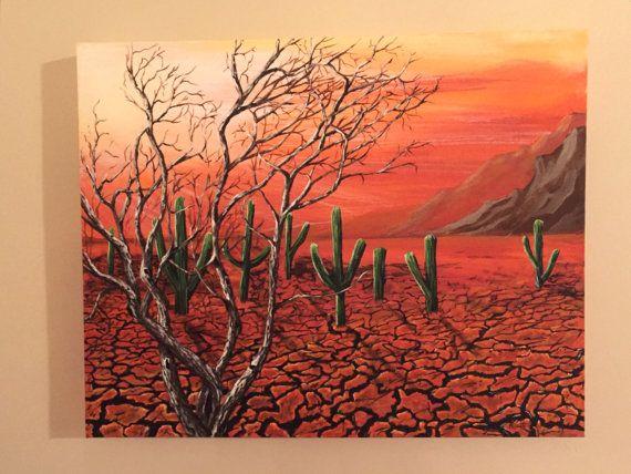 Desert Sunset Original Acrylic Painting by KristiBonham on Etsy