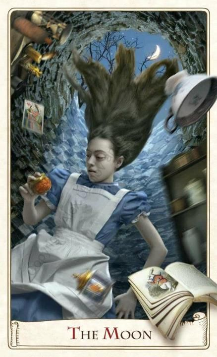 """""""The Moon"""" - The Alice Tarot...The Alice Tarot will be published in 2013. Baba Studio"""