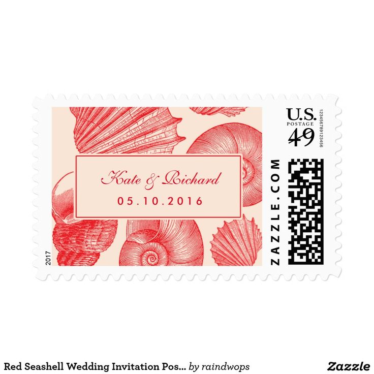 Red Seashell Wedding Invitation Postage Stamp Vintage seashell postage stamp for your wedding invitation. Rustic and classic style for beach wedding, nautical wedding, dinner by the sea ocean. Personalize postage stamp for any occasion like bridal shower, baby shower, wedding, engagement party, anniversary, save the date and many more. Matching stickers for envelope seal available in my zazzle shop.