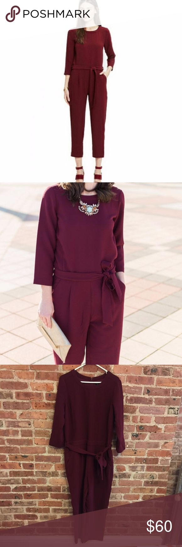 Madewell Sloan Jumpsuit Cranberry Wine 10 Madewell 'Sloan' jumpsuit in a cranberry/wine/burgundy color. Cropped length in a textured crepe fabric with removable tie sash at waist. Easy, relaxed fit. 100% polyester. Size 10. Excellent condition. Madewell Pants Jumpsuits & Rompers