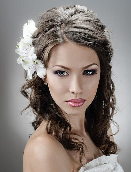 wedding hairstyles down with flower - Google Search