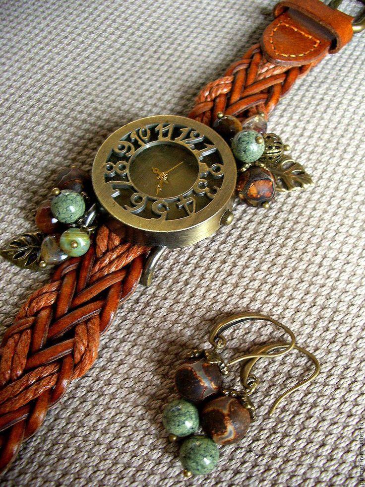 Купить Часы (+серьги) Рыжий винтаж комплект украшений - кварцевые часы, изящный браслет