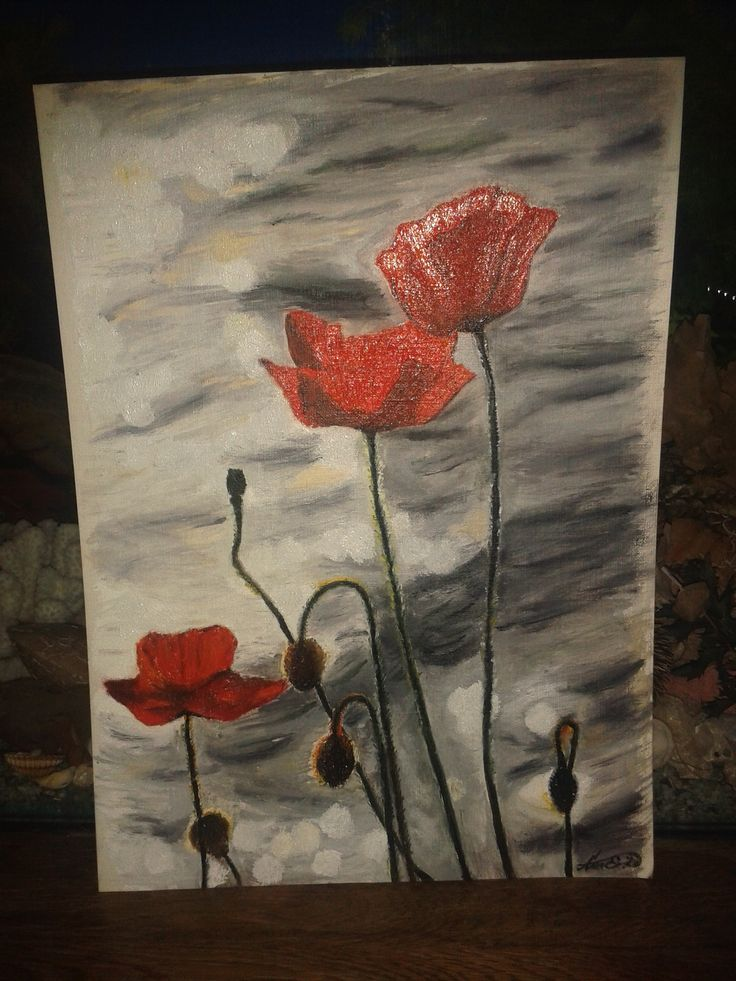 Tóparti pipacs Red Poppy painting