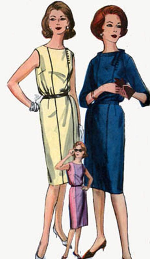 Vintage 60s Vogue 5248 MOD Bloused Bodice Mad Men WIGGLE Dress Sewing Pattern Size 16 Bust 36 UNCUT