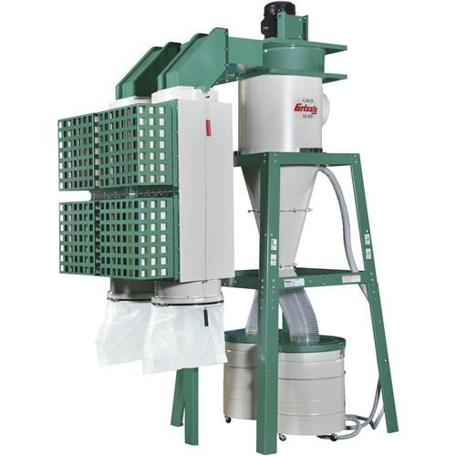 10 HP 3-Phase Dual-Filtration HEPA Cyclone Dust Collector | Grizzly Industrial