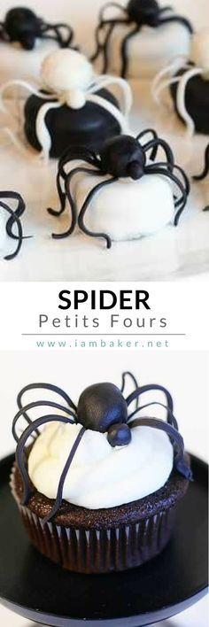 Looking for a DIY Halloween Scary Dessert Ideas for Kids? Create this creepy Spider Petits Fours? Pin this to your Halloween Recipes board. @iambaker #iambakerdessert #iambaker