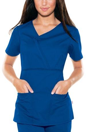 Skechers zip mock wrap scrub top in royal blue an for Spa uniform blue