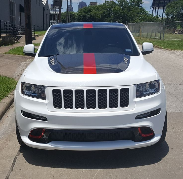 2013 Jeep Cherokee SRT8 in Diamond White with Red Chrome Accents and Racing Stripe Skinzwrap in Dallas, Texas #VinylWraps #Jeep #Cherokee #SkinzWrap