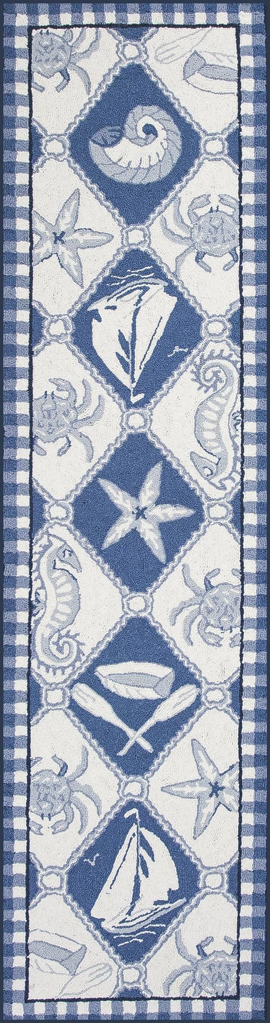 Introducing the Blue and Ivory Nautical Panel Hooked Area Rug, a maritime design with a bold checkered border. Nautical and sea life images are woven in a diamond pattern creating interest and a moder