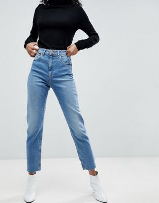 8cf9895dd Image 1 of ASOS DESIGN Farleigh high waist slim mom jeans in pretty bright  mid wash
