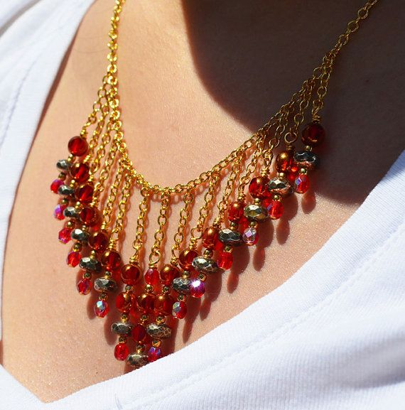 Samba red and grey bib necklace Gold chain necklace Mixed metals Bohemian gypsy beaded jewelry on Etsy, $55.00