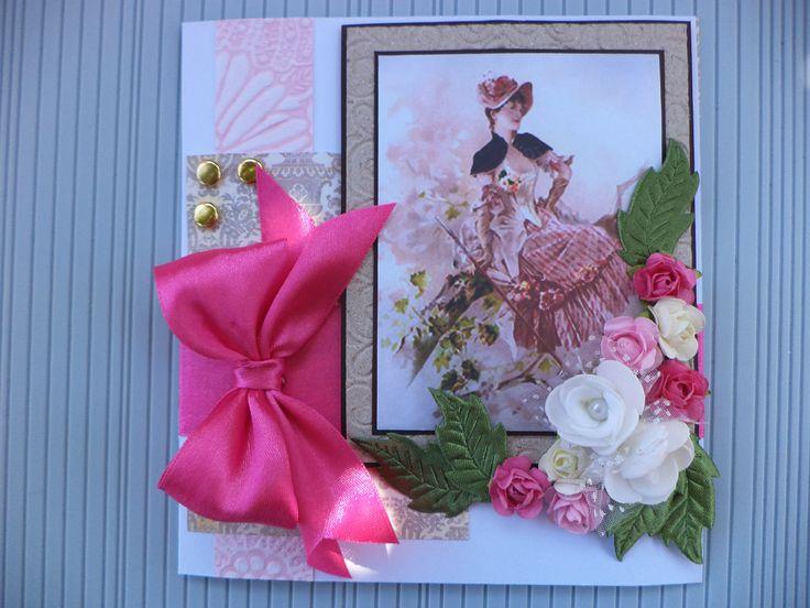 tarjeta dama antigua