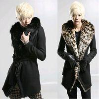 Harajuku 2014 neuankömmling mode Leoparden pelzkragen warm langen herren winterjacke männer mantel kleid parka jacken und mäntel, m-xl