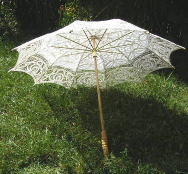 viktorianischer Sonnenschirm weiß Baumwolle