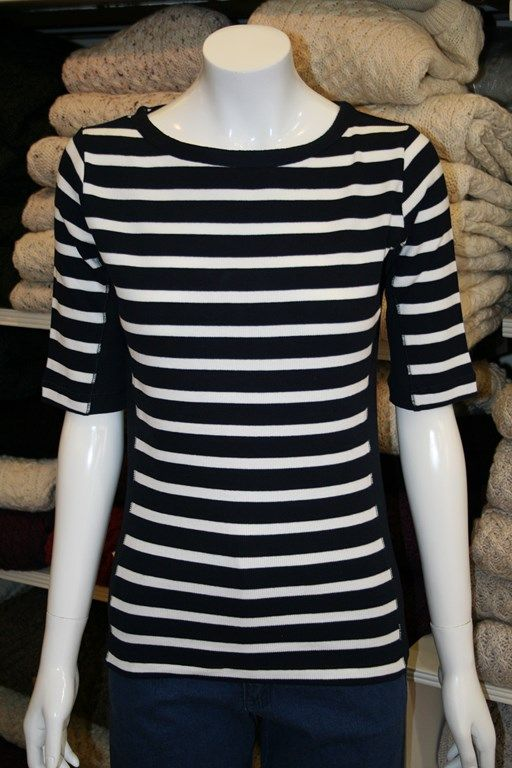 Navy/White stripe short sleeve cotton rich top from Key West. 94% Cotton; 6% Elastan.