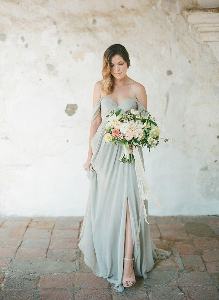 Dusty sage green bridesmaid dresses + nude heels. (Looks good with darker greenery.)