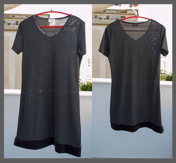 Part Two grey dress - vintage 90s mini dress - velvet grey short sleeve - v neck - semi transparent sheer dress