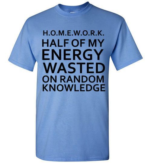 HALF OF MY ENERGY WASTED ON RANDOM KNOWLEDGE - glamfoxx.com - Skreened T-shirts, Organic Shirts, Hoodies, Kids Tees, Baby One-Pieces and Tot...