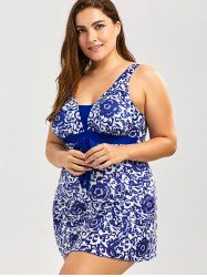Paisley and Floral Plus Size Skirted Swimsuit - BLUE 5XL Mobile