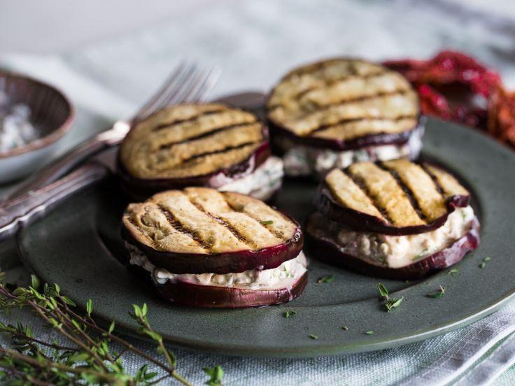 Auberginen-Sandwich mit Fetacreme