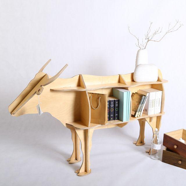 Diy wielofunkcyjne meble kreatywne rzemiosło byk sklejki brzozowej dekoracja stołu do użytku domowego, Kluby, Temat restauracji, sklepów