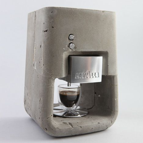 concrete espresso machine by Shenkar College of Engineering and Design student Shmuel Linski.