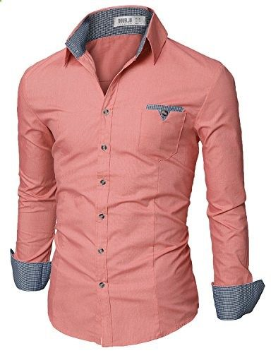 Doublju Mens Slim Fit Button Down Flannel Casual Shirt PINK,XL  Go to the website to read more description.