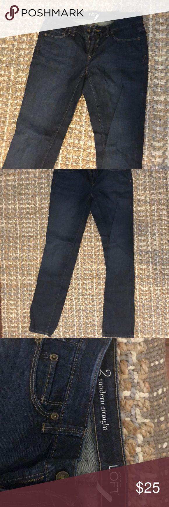 Loft modern straight cut jean Loft dark modern straight cut jeans. LOFT Jeans Straight Leg