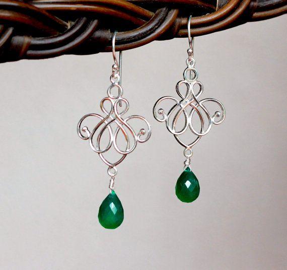 Green Onyx  bezel cut , Sterling Silver Drop earring