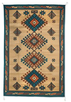 Turquoise Trail Rug by Zapotec Indians from Crow's Nest Trading Co. http://www.crowsnesttrading.com/product/14800/rugs_pillows