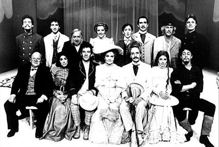 The Cherry Orchard by Anton Chekhov - Ian McKellan//Edward Petherbridge Company at National Theatre - back row l-r Simon Dutton, Greig Hicks, Hugh Lloyd, Selina Cadell, Jonathan Hyde, Peter Needham, Trsitram Wymark  Front l-r Roy Kinnear, Eleanor Bron,  Ian McKellen, Sheila Hancock, Edward Petherbridge, Claire Moore, Laurance Rudic
