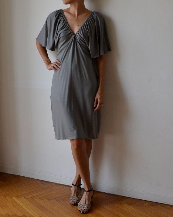 Grey party dress / midi length dress / dress with sleeves / 1920s dress / flapper dress /  kimono sleeves dress / gatsby dress